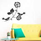 Vögelchen auf Blume Wandtattoo