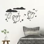 Vögelchen mit Sternchen Wandtattoo