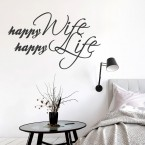Wandtattoo Spruch - Happy wife happy life