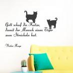 Wandtattoo Zitat - Gott schuf die Katze ...