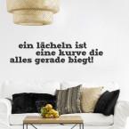 Wandtattoo Spruch - Ein Lächeln ist eine Kurve ...