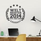 Wandtattoo Fußball - Weltmeister Siegel Design 1