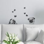 Wandtattoo A4-Set Möpse mit Schmetterlingen