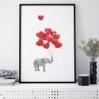 poster elefant mit roten herzchenluftballons