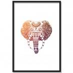 poster indischer elefantenkopf bunt