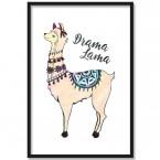 Poster Drama Lama, mit Rahmen