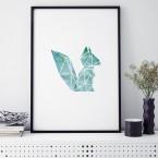 eichhörnchen origami poster