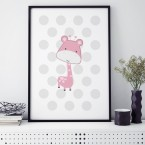 giraffe rosa poster kinderzimmer