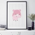 Nashorn rosa poster kinderzimmer