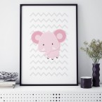 Elefant rosa poster kinderzimmer