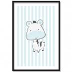 Poster Zebra Blau, Rahmen