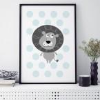 kinderzimmer poster elefant blau