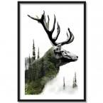 Poster Forest Deer, Rahmen