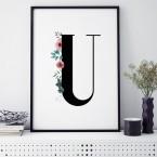 Poster Florales U, mit Rahmen
