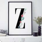 Poster Florales Z, mit Rahmen