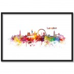 Poster Skyline London Aquarell, mit Rahmen