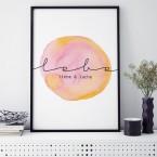 Poster lebe liebe & lache, mit Rahmen