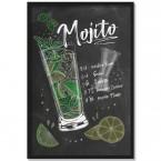 Poster Cocktail Mojito, mit Rahmen