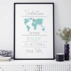 Geburtsposter Welt Name | individualisierbar
