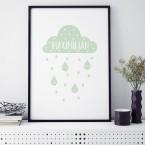Poster Geburtsposter Wolke Mint | individualisierbar
