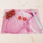 Glasschneidebrett Erdbeereis
