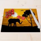 Glasschneidebrett Elefant vor Sonnenuntergang