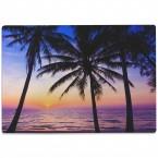 Glasschneidebrett Palmen und Meer