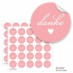 "Geschenktüten mit Aufklebern ""Danke"" - rosa"