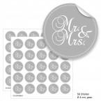 """Geschenktüten mit Aufklebern """"Mr. & Mrs."""" - grau"""