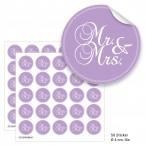 """Geschenktüten mit Aufklebern """"Mr. & Mrs."""" - lila"""