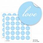 """Geschenktüten mit Aufklebern """"Love"""" - blau"""