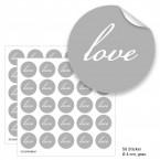 """Geschenktüten mit Aufklebern """"Love"""" - grau"""