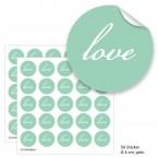 """Geschenktüten mit Aufklebern """"Love"""" - grün"""