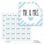 """Geschenktüten mit Aufklebern """"Mr. & Mrs."""" - blau gestreift"""