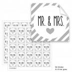"""Geschenktüten mit Aufklebern """"Mr. & Mrs."""" - grau gestreift"""