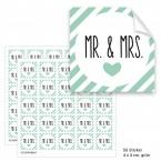 """Geschenktüten mit Aufklebern """"Mr. & Mrs."""" - grün gestreift"""