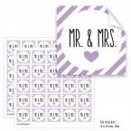 """Geschenktüten mit Aufklebern """"Mr. & Mrs."""" - lila gestreift"""