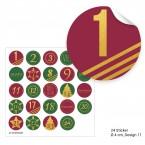 """Adventskalendertüten mit Aufklebern """"rot/grün mit goldenen Zahlen"""""""