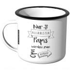 Emaille Tasse Nur die allerbesten Papis werden zum Opa befördert