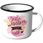Emaille Tasse Beste Mama der Welt - Aquarell