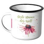 Emaille Tasse Beste Mama der Welt - Blume