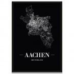 Aachen Stadtposter Straßennetz mit Bilderrahmen