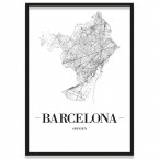 Stadtposter Barcelona mit Bilderrahmen