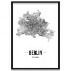 Poster Berlin mit Straßennetz im Bilderrahmen