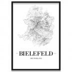 Poster Bielefeld Straßennetz mit Bilderrahmen