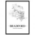Poster Bradford Straßenplan Bilderrahmen