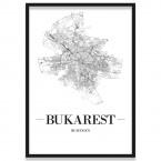 Poster Bukarest Straßennetz