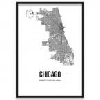 Poster Chicago Gerahmt mit Straßenplan