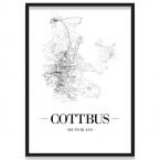 Poster Cottbus Straßennetz mit Rahmen