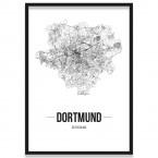 Poster Dortmund Straßennetz mit Bilderrahmen